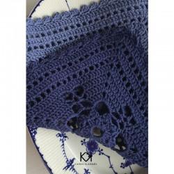 Opskrift på blå serviet - Farvetryk i postkortstørrelse