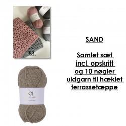 Sand - Samlet sæt incl. opskrift og uldgarn til hæklet terrassetæppe