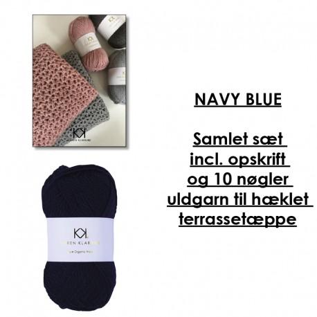 Navy Blue - Samlet sæt incl. opskrift og uldgarn til hæklet terrassetæppe