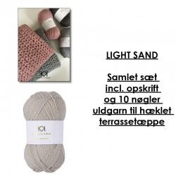 Light Sand - Samlet sæt incl. opskrift og uldgarn til hæklet terrassetæppe