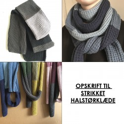Opskrift på strikket halstørklæde i 8/8-garn