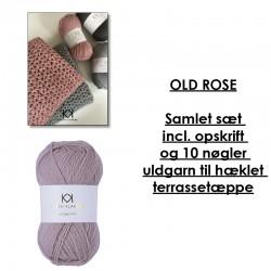 Old Rose - Samlet sæt incl. opskrift og uldgarn til hæklet terrassetæppe