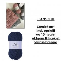 Jeans Blue - Samlet sæt incl. opskrift og uldgarn til hæklet terrassetæppe