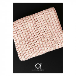 Opskrift på strikket klud i halvpatent - Farvetryk i postkortstørrelse