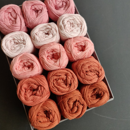 Rosa til rust - 15 nøgler bomuldsgarn, opskrift på båltæppe
