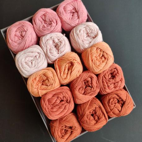 Rosa - Orange - Rust - 15 nøgler bomuldsgarn, opskrift på båltæppe