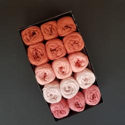 Lys rosa til rust - 15 nøgler bomuldsgarn, opskrift på båltæppe