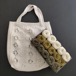 Oliven taske boks - 15 nøgler bomuldsgarn + opskrift på 50'er net