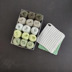 Mixed Green grydelapboks - 15 nøgler bomuldsgarn + opskrift på grydelapper