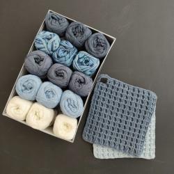 New Blue grydelapboks - 15 nøgler bomuldsgarn + opskrift på grydelapper