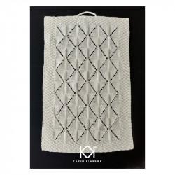 Opskrift på strikket Gæstehåndklæde i hulmønster - Farvetryk i postkortstørrelse