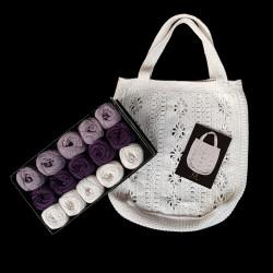 Lilla taskekit - 15 nøgler bomuldsgarn + opskrift på 50'er net