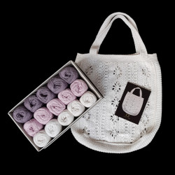 Lys lilla taskekit - 15 nøgler bomuldsgarn + opskrift på 50'er net