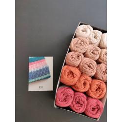 3 x 5 farver - Tæppekit (2. sortering) + opskrift på Hæklet båltæppe