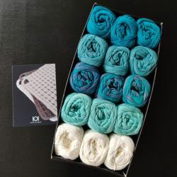 3 x 5 farver - Turkise til hvid (2. sortering) + opskrift på Hæklede vaffelgrydelapper