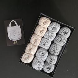 Grå/grå/Nude kit til 3 net (2. sortering) + opskrift på 50'er net