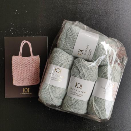 4 nøgler Recycled Bottle Yarn + opskrift på strikket net i Recycled Bottle Yarn