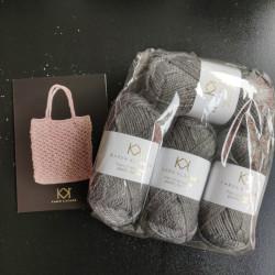 4 nøgler Recycled Bottle Yarn - Charcoal + opskrift på strikket net i Recycled Bottle Yarn