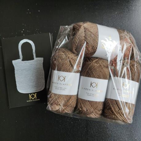 4 nøgler Recycled Bottle Yarn - Bronze + opskrift på hæklet net i Recycled Bottle Yarn