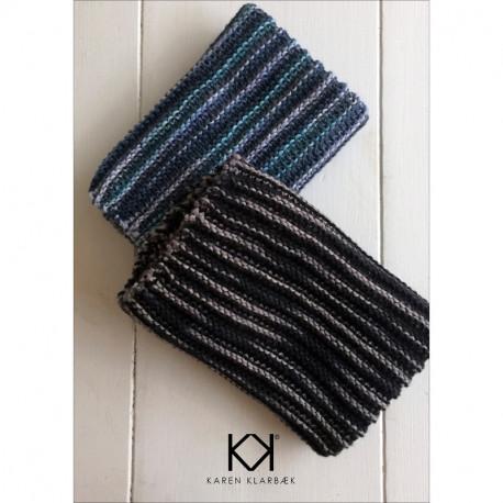 Opskrift på strikket tofarvet klud - Farvetryk i postkortstørrelse
