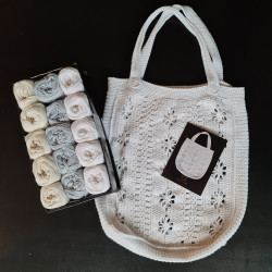 Taskekit til 3 net (2. sortering) + opskrift på 50'er net - Hvid, creme, grå