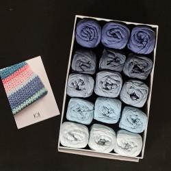 8/4: Blå farver IV - 15 nøgler bomuldsgarn, opskrift på båltæppe