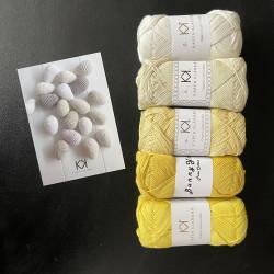 8/4 Påskefarver II - (2. sortering + restgarn) 5 nøgler bomuldsgarn, incl. opskrift på hæklede Påskeæg