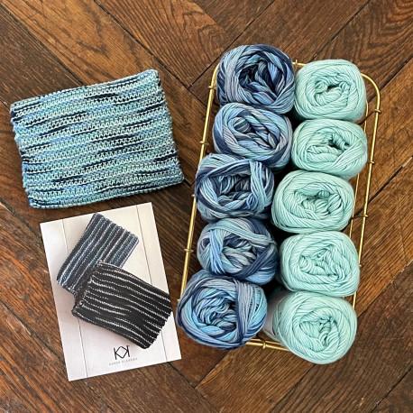 8/4: Aquablue-turkis (2. sortering + restgarn) 10 nøgler + opskrift på strikket tofarvet klud