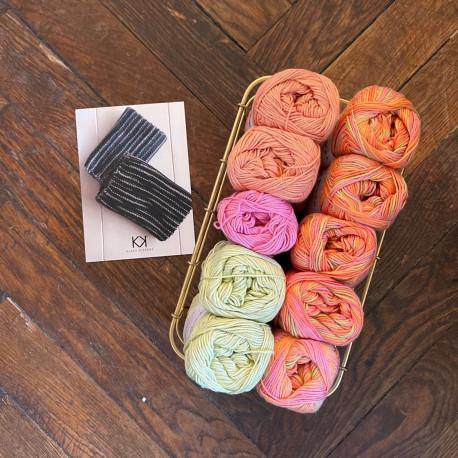 8/4: Orange-Pink-Lys grøn-Coral multifarvet (2. sortering + restgarn) 10 nøgler + opskrift på strikket tofarvet klud
