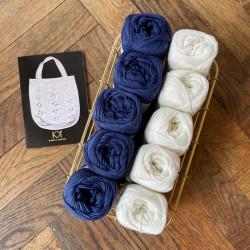 8/4: Nature White/Porcelain Blue - 10 nøgler bomuldsgarn + opskrift på 50'er net