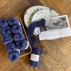 8/4: Porcelain Blue - 10 nøgler bomuldsgarn + opskrift på vamset patentstrikket klud (som print)