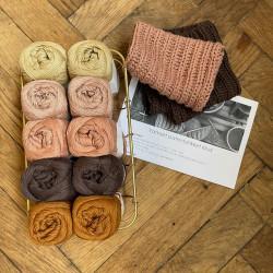 8/4: Chokolade, Golden og Rosa farver - 10 nøgler bomuldsgarn + opskrift på vamset patentstrikket klud (som print)