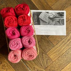 8/4: Røde og pink farver + brændte farver - 10 nøgler bomuldsgarn + opskrift på vamset patentstrikket klud (som print)
