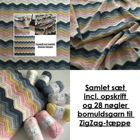 Samlet sæt incl. opskrift og bomuldsgarn til ZigZag-tæppe