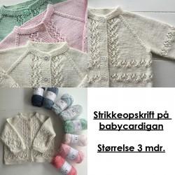 Strikkeopskrift på babycardigan - Størrelse 3 mdr.