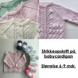 Strikkeopskrift på babycardigan - Størrelse 6-9 mdr.