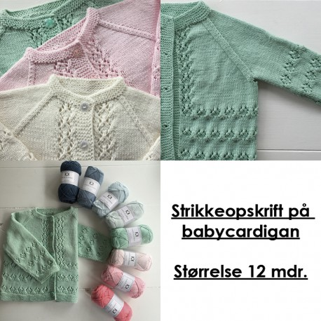 Strikkeopskrift på babycardigan - Størrelse 12 mdr.