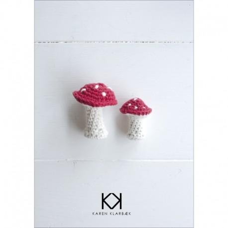 Opskrift på hæklede svampe - Farvetryk i postkortstørrelse